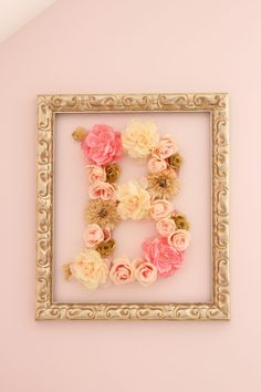 Pink and Gold DIY Flower Letter