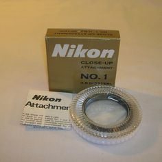 Mint Genuine Nikon Close Up Filter Attachment Lens No. 1 W/ Case, Box & Inst. NR #Nikon