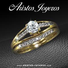 #DiseñoyFabricacion #Diamantes #Oro  hermoso Duo en oro amarillo condiamantes