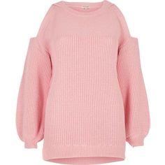 River Island Pink cold shoulder sweater ($70) ❤ liked on Polyvore featuring tops, sweaters, jumpers, knitwear, pink, tall tops, pink top, pink knit sweater, red knit sweater and open shoulder sweater