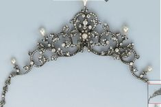 an Edwardian tiara/necklace of diamond foliate scrolls topped with five pear-shaped pearls