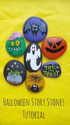 Halloween story stones Create these spooky Halloween story stones. Halloween story stones Create these spooky Halloween story stones with Artistro Rock Painting Kit! Rock Painting Patterns, Rock Painting Ideas Easy, Rock Painting Designs, Painting Tutorials, Acrylic Painting For Kids, Pebble Painting, Pebble Art, Rock Painting For Kids, Story Stones