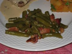 German-Style Green Beans from Food.com: This is a nice side dish to any German entree, especially pork. It can be made in the crockpot, or on the stovetop.