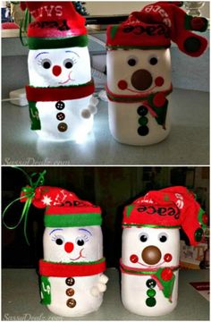 Snowman Light - 12 Magnificent Mason Jar Christmas Decorations You Can Make Yourself