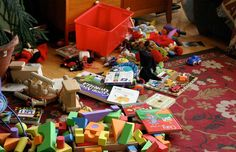 messy living room toys