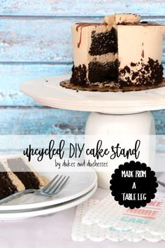 Upcycle an old table leg and a wood clock face into a custom DIY cake stand that's perfect for holding cakes, cupcakes, and appetizers!