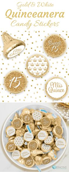 White and Gold Quinceanera party favor stickers are the perfect final detail to add to your upcoming girl's Princess Quince celebration. #whitequince