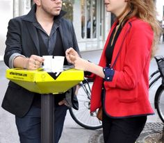 """Damien Gires' urban terrasse: """"DIY communicative street furniture which is meant to allow cafés and private views to 'spill out' onto the streets"""" Street Marketing, Urban Furniture, Street Furniture, Origami Furniture, Information Design, Parisian, House Design, Support, Desks"""