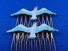 Vintage Old Pair Flying Sea Gull Seagulls Enamel Deco Hair Comb Lot 2 Retro…