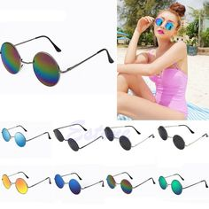 2016 newest Vintage Men Women Sunglasses Hippie Retro Round Metal Eyeglasses Glasses Eyewear free shipping-Y107