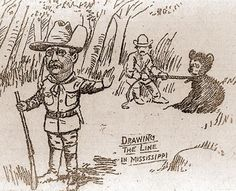 "President Theodore Roosevelt & the Famous Bear Hunt: Nov. 14, 1902 Teddy headed to Smedes, Miss., for a 4 day ""pleasure of a few days recreation in the woods"" more than a planned bear hunt. The hounds cornered a 235-pound bear. The guide tied it to a tree & called for the President. When Teddy arrived, he would not shoot the bear. Cartoonist Clifford Berryman drew Roosevelt with a little bear refusing to shoot him. Soon toy manufacturers were producing ""Teddy's Bears"" later called Teddy…"