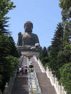"Climbing the long flight of stairs to the ""Tian Tan Buddha""... Lantau Island, Hong Kong    By _SG_, via Flickr"