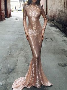 Stand Collar Open Back Mermaid Gold Dress