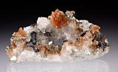 Inesite with Hubeite, Quartz, Pyrite, Apophyllite