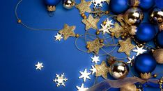 Laeacco Blue Solid Color Christmas Ball Star Snowflake Photography Background Customized Photographic Backdrops For Photo Studio