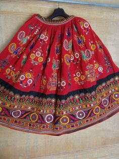 VINTAGE KUCHI RABARI BANJARA TRIBAL ETHNIC BELLY DANCE MIRROR ATS SKIRT #jaisalmerhandloom #Pleated