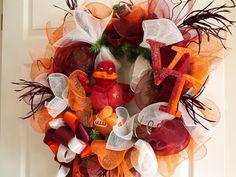 Virginia Tech wreath by LanaRayneCreations on Etsy. LOVE IT!