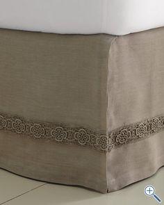 embellished linen bedskirt I could add this to a plain bedskirt
