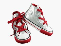 Converse All Star Kids Toddler Girl Boy Leather Hi-Top Shoes Silver/ Red