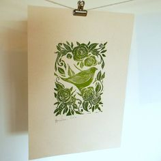 Roses and Bird Lino Print from Mangle Prints on Folksy £10