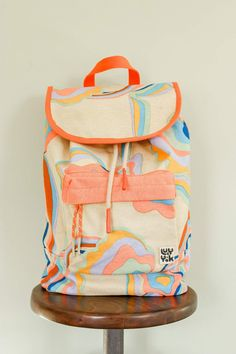 The Sundaze Collection - Finley Backpack in Skyline Print Bleach And Tone, Summer Sky, Muted Colors, Color Pallets, Repeating Patterns, Earthy, Cotton Canvas, Skyline, Organic Cotton
