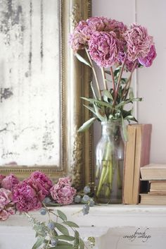 Peonies - dry in water - The water helps them dry slowly in perfect form.
