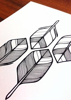Pen line drawing of arrow feather designs // arrows illustration - 'four' - hand drawn feathers or arrow flights - black and white feathers art.