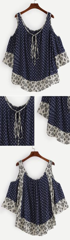 Open Shoulder Tie Neck Tribal Print Top