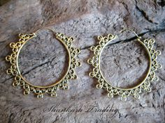 Tribal Brass Earrings Indian Ethnic Gypsy Hoops by ShankaraTrading