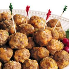Jimmy Dean Sausage Cheese Balls Recipe:: These were super good and moist. A slight kick from the pepper. They were a tad bit more meaty than bready, which I'm not used to in a sausage ball, but they went over very well!