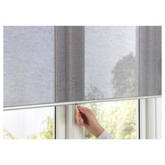 SKOGSKLÖVER Roller blind IKEA The blind is cordless for increased child safety. Filters light and reduces reflections on TV and computer screens. House Blinds, Blinds For Windows, Sunroom Blinds, Big Windows, Window Coverings, Window Treatments, Magnetic Blinds, Grey Roller Blinds, Windows