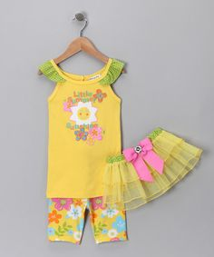 This terrific trio is the perfect outfit for any cheery affair. Its playful print and matching tutu are sure to turn heads and inspire smiles.Includes tee, tutu and leggings60% cotton / 40% polyesterMachine wash; tumble dryImported
