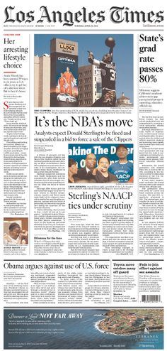 """LA Times on Donald Sterling: """"It's the NBA's move"""""""