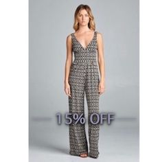 ONLY 1 LG LEFT  Tribal Print Long Jumpsuit Soo in love with this Jumpsuit! So soft and beautiful! Would be perfect for the any occasion! This jumpsuit has a great stretch, is very moveable and breathable. Sizes available S &L ❤️  ** Model is 5'7 wearing a size Small** 90% Polyester 10% Spandex. Bohemian Sea Other