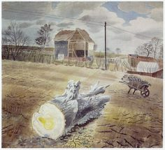 TREE TRUNK AND WHEELBARROW by ERIC RAVILIOUS PAINTED AT IRONBRIDGE FARM, ESSEX - print from an Eric Ravilious painting from c.1942.