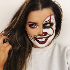 """melted pennywise tutorial for this idea will be up on my channel TONIGHT! stay tuned & make sure you're subbed so you're notified when it goes live! Inspired by @desiperkins melted skull ______________________________ @mesmereyezcontactlenses Xtreme darth marl @morphebrushes 35O2 palette @nyxcosmetics vivid brights """"Bad Blood"""" #morphebrushes #morphe35O2 #nyxcosmetics #halloweenmakeup #meltedface #clownmakeup #pennywisemakeup"""