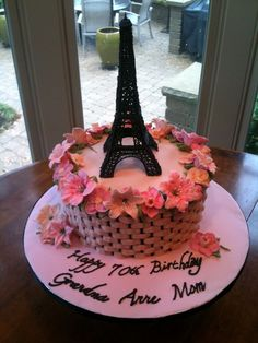 Eiffel Tower Cake Eiffel Tower and flowers made from royal icing, Cake in a pink and black basketweave. 12th Birthday Cake, Birthday Cake Girls, Paris Birthday, Tour Eiffel, Paris Rosa, Parisian Cake, Eiffel Tower Cake, Royal Icing Cakes, Paris Cakes