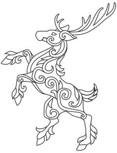 Celtic rearing stag / deer drawing / pattern / graphic