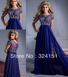 New Style 2013 Modest Cheap  A Line Navy Blue Cap Strap Long Lace Crystal Ankle Length Elegant Mother Of The Bride Dress