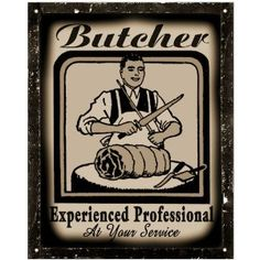 Butcher shop meat Sign steak pork chops deli / vintage antique Wall decor