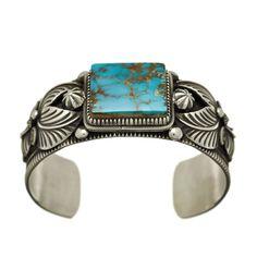 Bracelet Navajo Turquoise Pilot Moutain sur argent.   Harpo Paris
