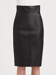 Burberry London Paneled Leather Skirt