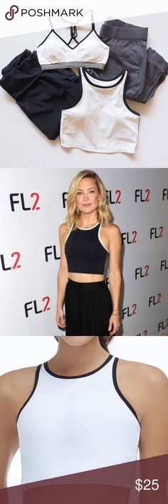 Fabletics Moorea Crop Top Bra Crop top style sports bra is also cute worn alone as a top as seen on Kate Hudson! White with black piping and brand new with tags and sold out! Fabletics Intimates & Sleepwear Bras