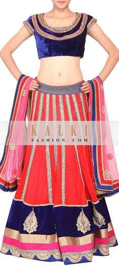 Buy Online from the link below. We ship worldwide (Free Shipping over US$100)   http://www.kalkifashion.com/red-colored-pearl-and-sequins-embroidered-lehenga-only-on-kalki.html