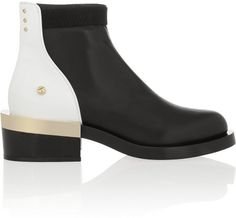 Black and White Leather Ankle Boot with Black and Gold Metal Heel - Lyst