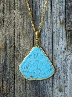 Raw Turquoise Gold Dipped Necklace by JewelryByKrystle on Etsy, $48.00