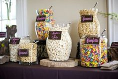 """Engagement party -Ooh, this is a good idea! Popcorn bar - suits the whole """"old movies"""" idea.How To Put Together A Popcorn Bar - Wedding advice for the modern bride Wedding Popcorn Bar, Popcorn Bar Party, Wedding Snack Bar, Popcorn Store, Popcorn Theme, Bar A Bonbon, Candy Popcorn, Pop Popcorn, Cheese Popcorn"""
