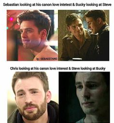 Stucky is real. Fight me on this These are pictures of them looking at their IRL love interests vs. in captain america.