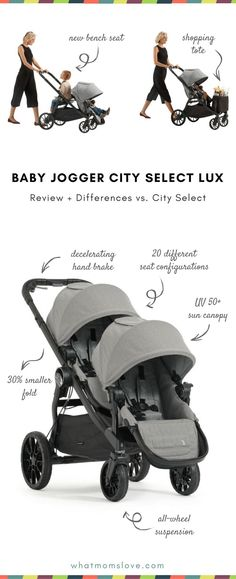 Introducing the 2017 Baby Jogger City Select LUX - the most versatile stroller on the market. Make it a double (or triple!) + differences between City Select Double Stroller For Twins, City Select Double Stroller, Baby Jogger City Select, Best Double Stroller, Double Stroller Travel System, Baby Jogger Double Stroller, Single Stroller, Toddler Stroller, Pregnancy