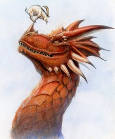 How did that mountain goat get up on the dragon's nose? Firstly, the dragon HAD to have been sound asleep, and secondly, the mountain goat would have to have been legally blind, At least! Dragon Heart, Fire Dragon, Magical Creatures, Fantasy Creatures, Creative Illustration, Illustration Art, Fantasy World, Fantasy Art, Dragon Medieval